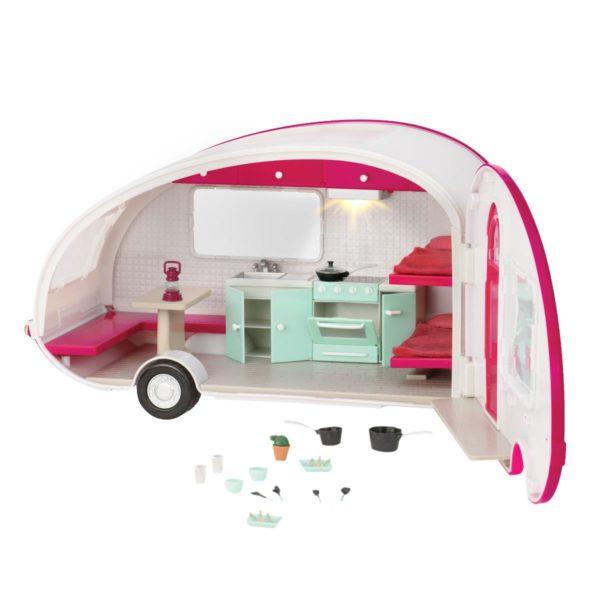 Roller Glamper RV Trailer|Miniature Dollhouse Accessory|Lori Doll