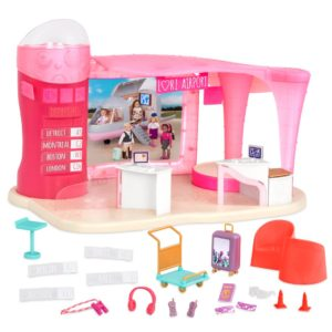 The Jetset Airways airport for 6-inch mini dolls features a control tower elevator, turning luggage carousel, lounge area seats, destination signs, and more!